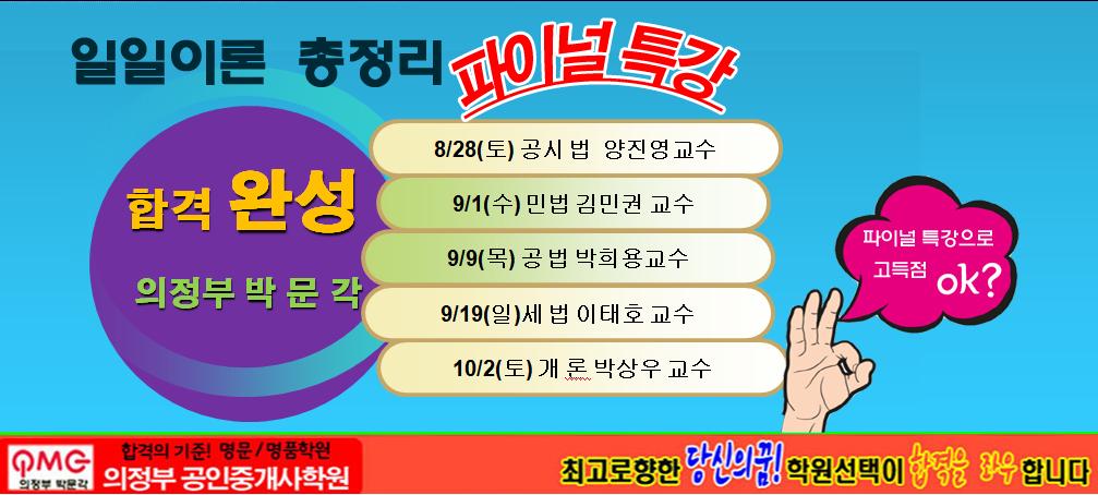 합격완성 일일이론총정리 파이널특강 8월28일~10월2일